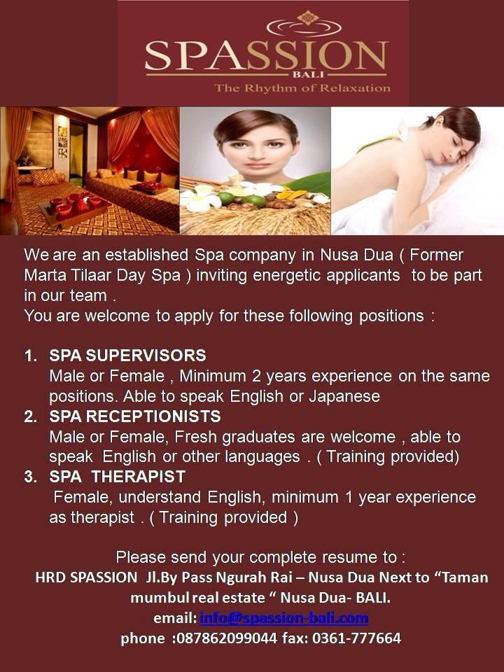 Spassion-Lowongan Spa Therapist-Spa Supervisor-Spa Reception