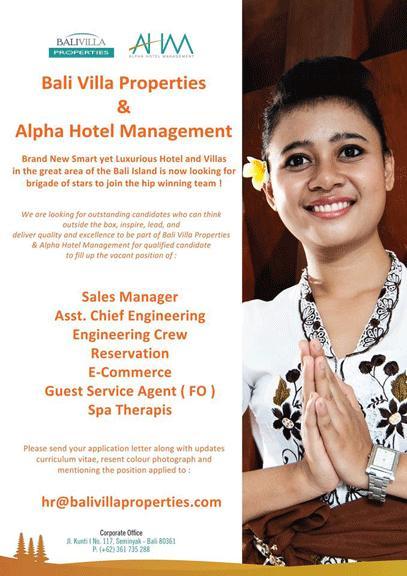 Lowongan at Bali Villa Properties & Alpha Hotel Management