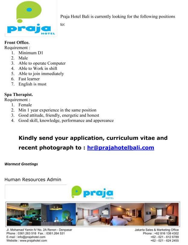 Lowongan Spa Therapist dan Front office di Praja Hotel Bali