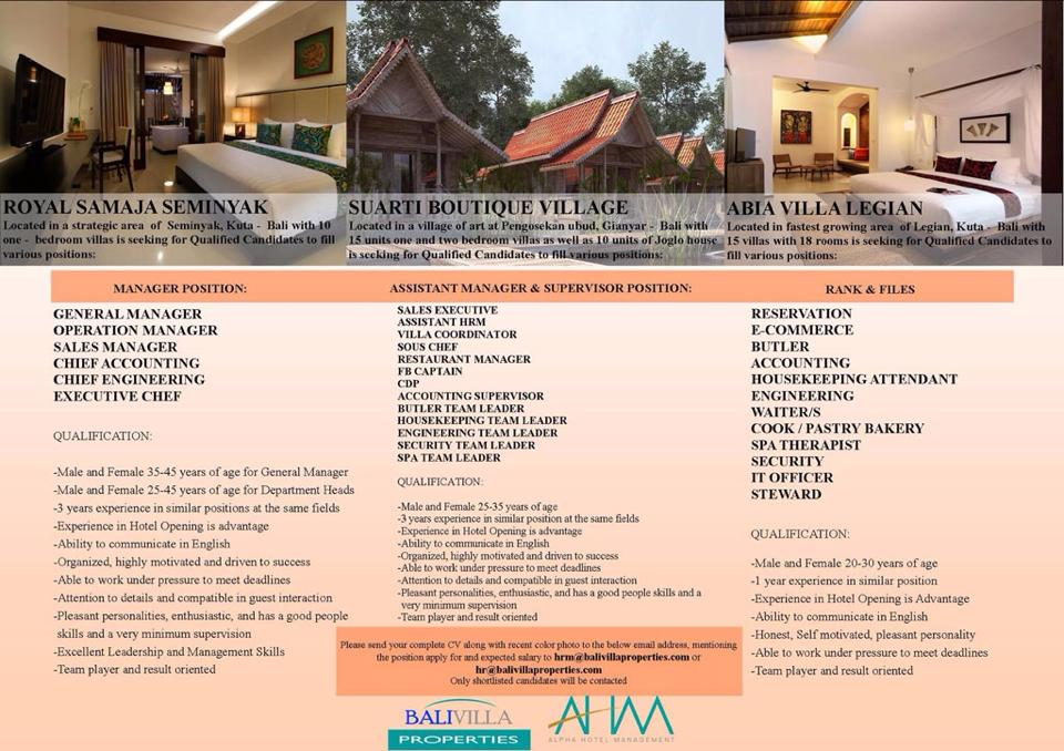 Lowongan Spa Therapist Bali Villa & Properti Alpha Hotel