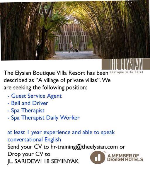Lowongan Spa Therapist The Elysian Boutique Villa Hotel Seminyak