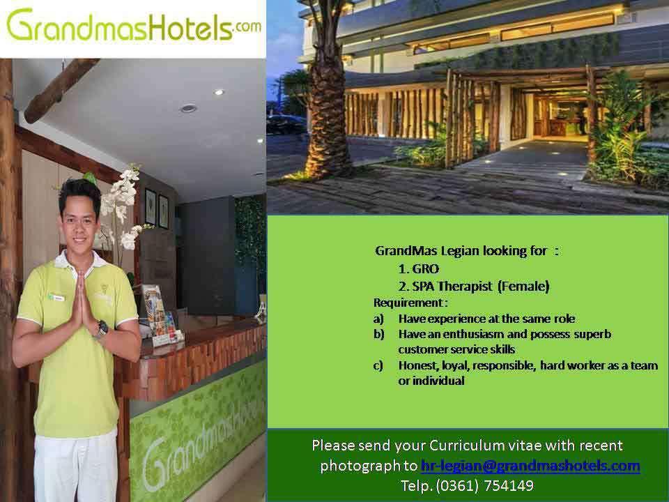 Lowongan Spa Therapist GrandMas Legian Hotel