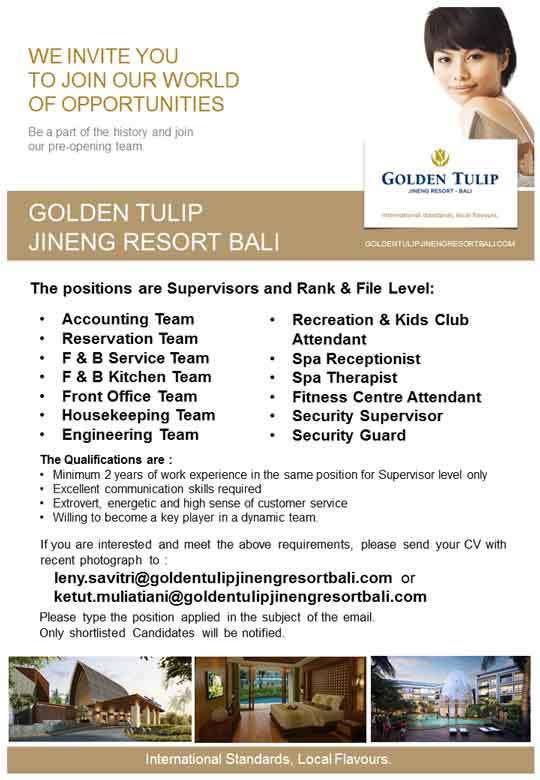 Lowongan Golden TUlip JIneng Resort Bali
