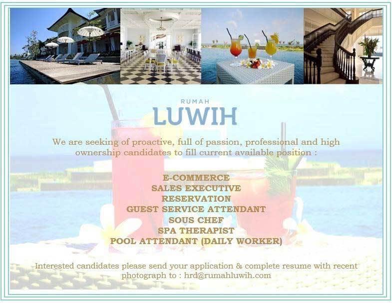 Lowongan Spa Therapist Rumah Luwih Gianyar-Bali