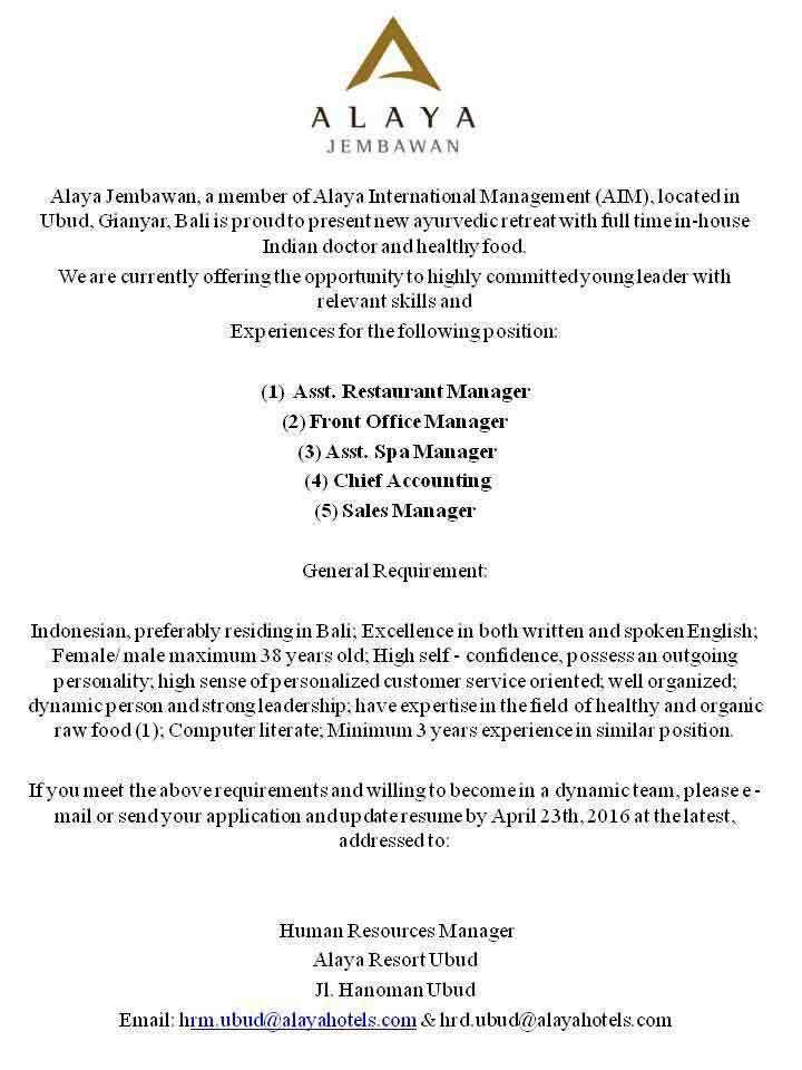 Lowongan Asst Spa Manager Alaya Jembawan Ubud