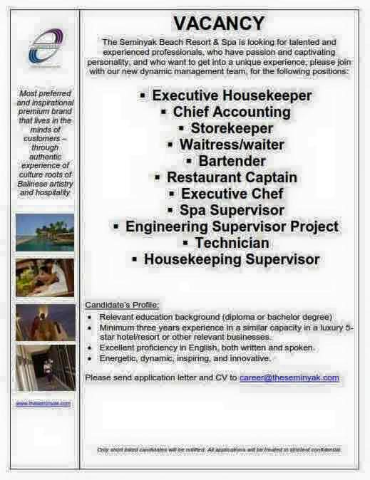 Lowongan Spa Supervisor The Seminyak Beach Resort & Spa