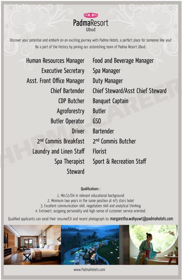 Lowongan Spa Therapist Padma Ubud dan Spa Supervisor Tropical Group Bali