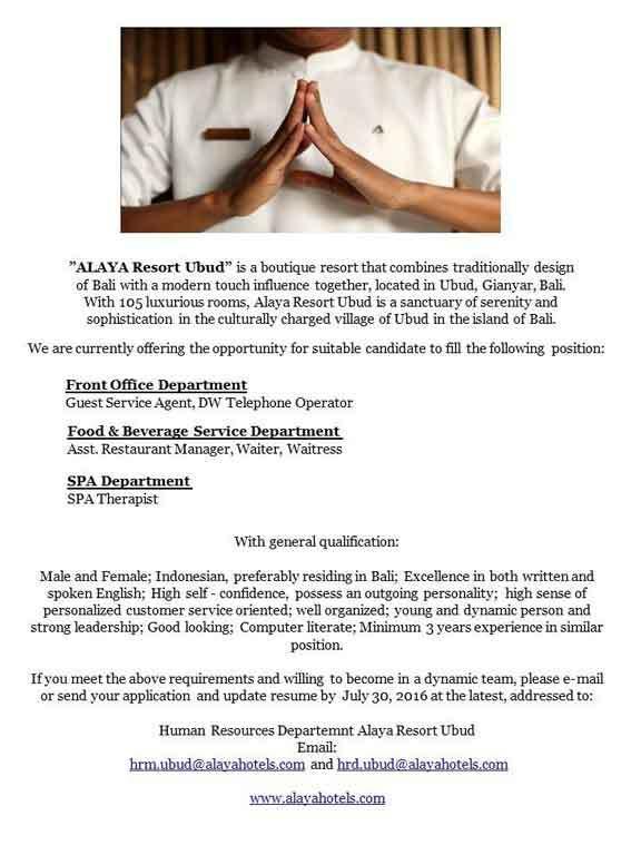 Lowongan Spa Therapist Alaya Resort Ubud