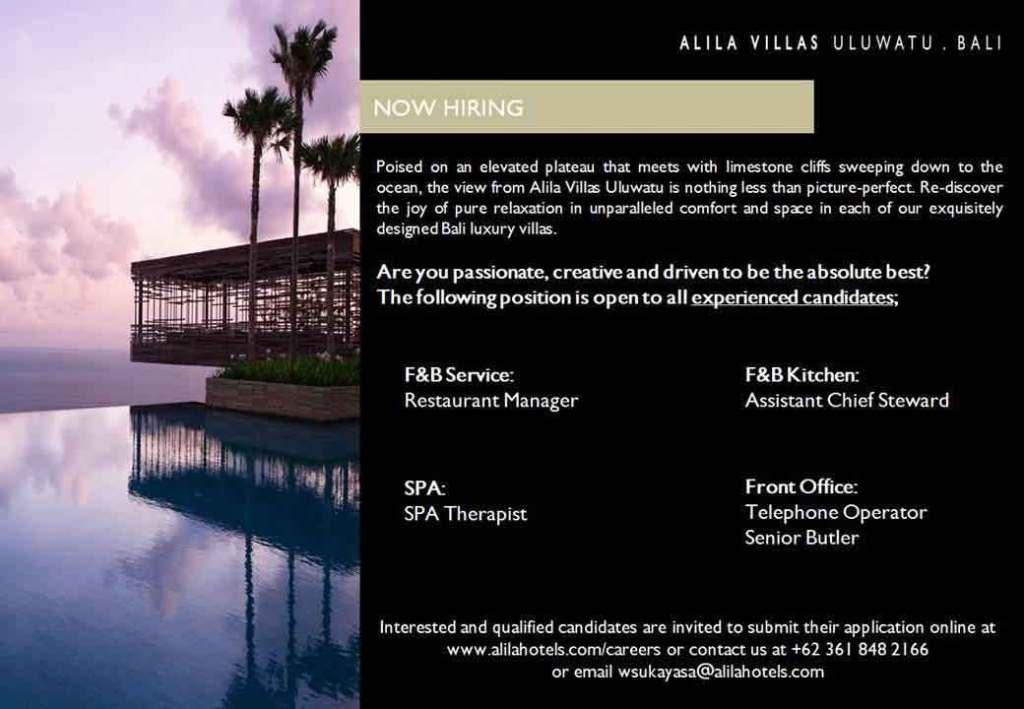 Lowongan Spa Therapist Alila Villas Uluwatu Bali
