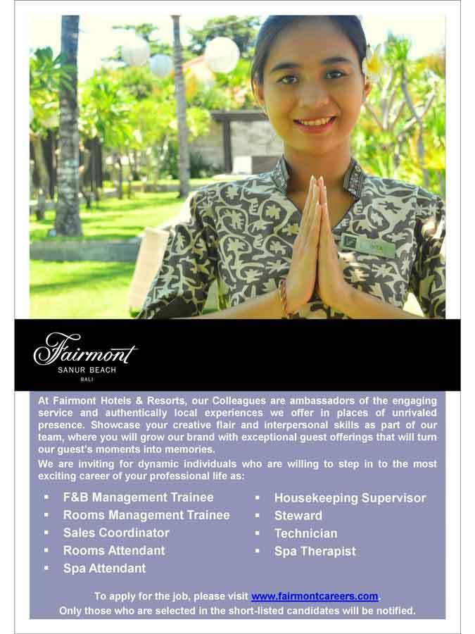 Lowongan Spa Therapist dan Spa Attendant Fairmont Sanur Beach Bali