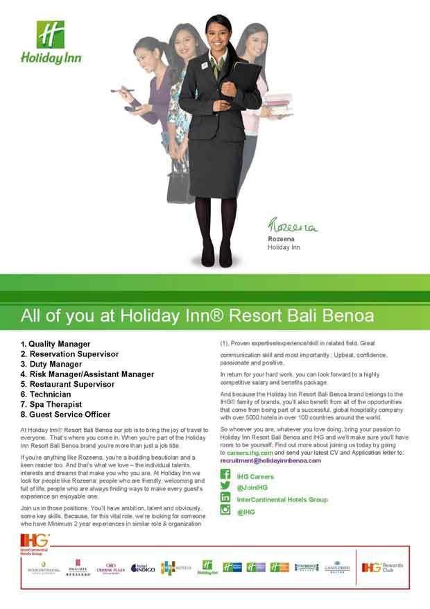 Lowongan Spa Therapist Holiday Inn Resort Bali Benoa