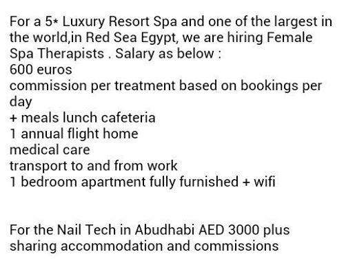 Lowongan Spa Therapist Egypt dan Nail Art Abudhabi-Dubai