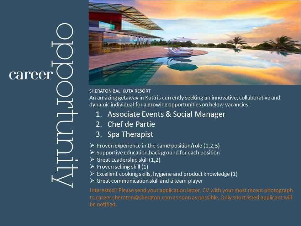 Lowongan Spa Therapist Sheraton Bali Kuta Resort