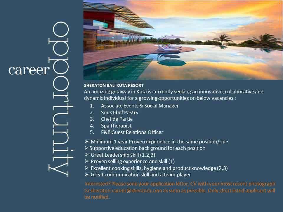 Lowongan Spa Therapist b Hotel & Spa dan Sheraton Bali Kuta Resort