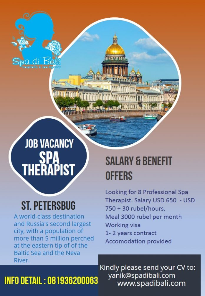 Job Spa Therapist Wanita Rusia - ST Petersbug