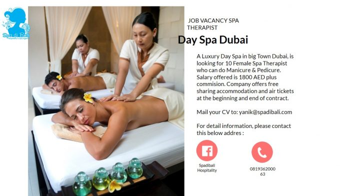 Lowongan / Job Vacancy Spa Therapist Day Spa Dubai