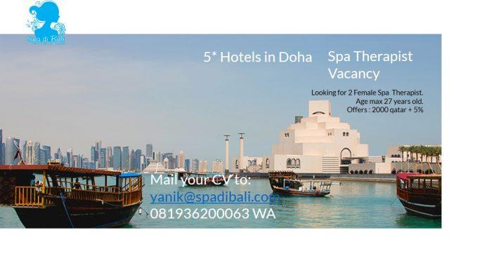 Lowongan / Job Spa Therapist Wanita Hotel Bintang 5 Doha