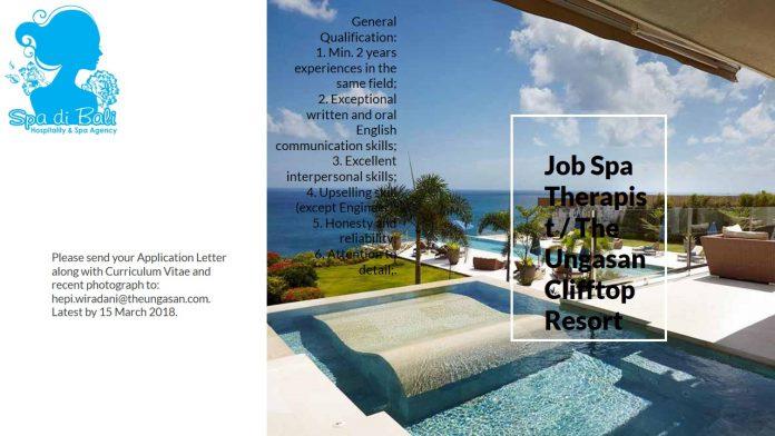 Lowongan Spa Therapist The Ungasan Clifftop Resort