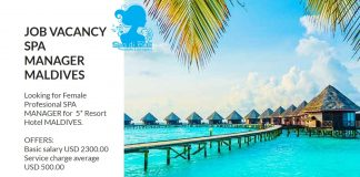 Lowongan / Job Vacancy Spa Manager Hotel Bintang 5 - Maldives