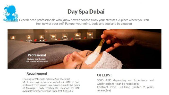 Spa Therapist Negara Middle East Dubai - Lowongan Spa Therapist Luar Negeri Terbaru