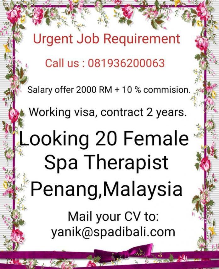 Pesona Tujuan Wisata Eksotis Dunia Penang - Lowongan Spa Therapist Wanita Malaysia