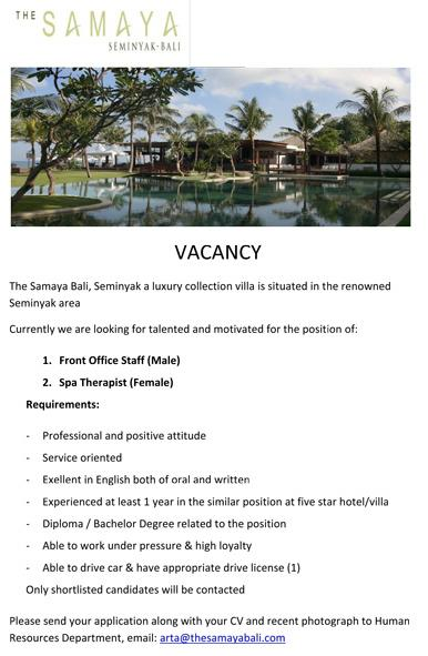 Lowongan Spa Therapist The Samaya Seminyak Bali